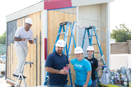 Volunteers Building Emergency Sleeping Cabins